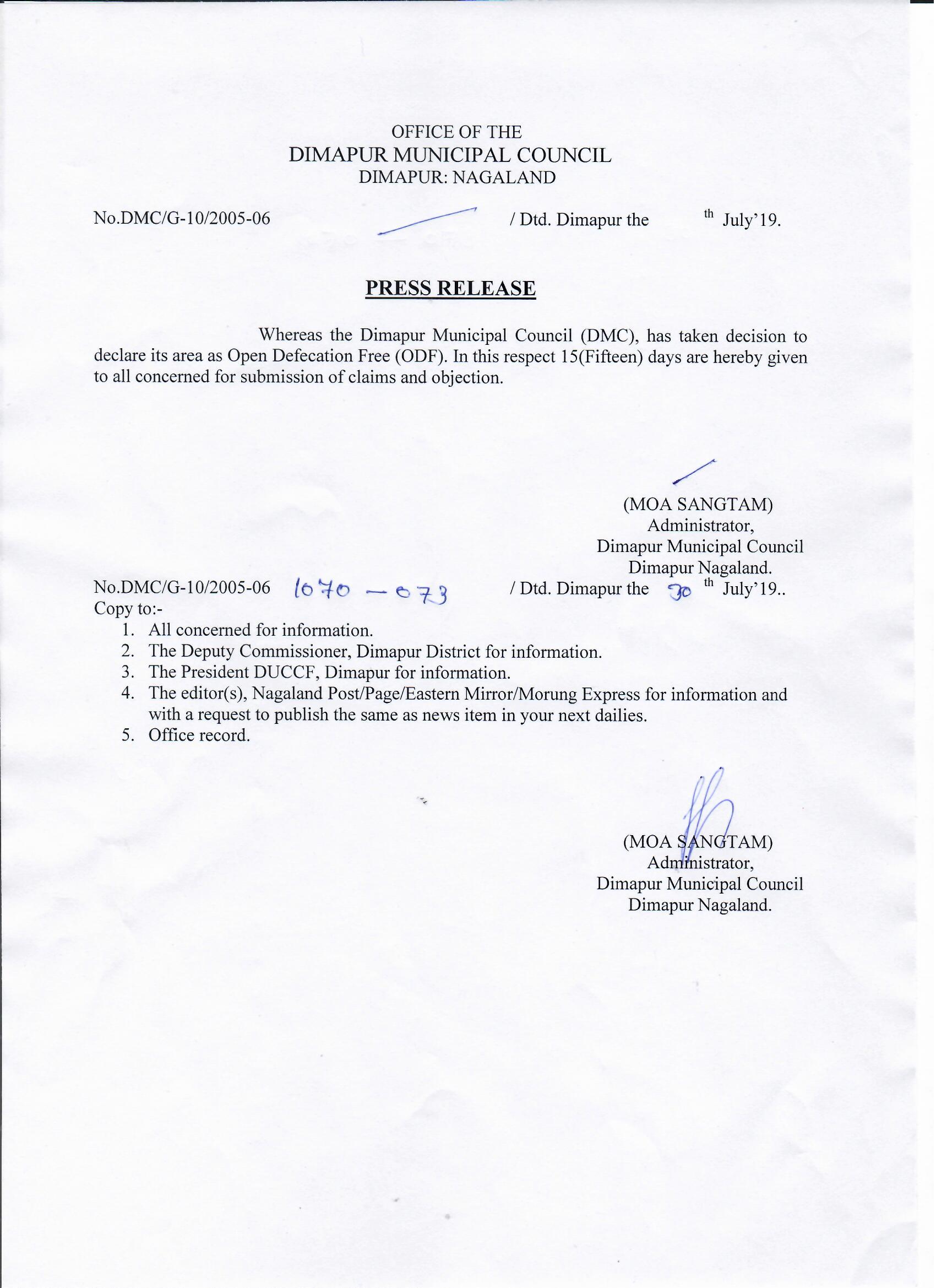 PRESS RELEASE – 30th July' 2019   Dimapur Muncipal Council